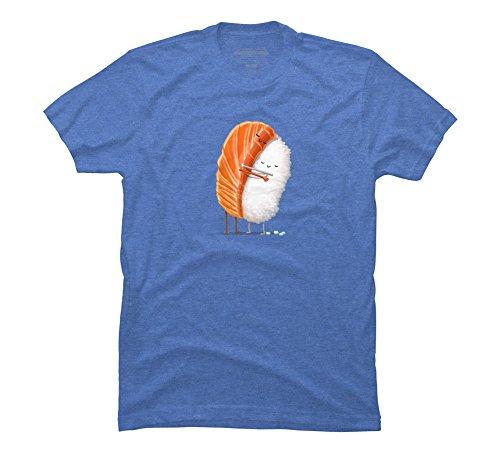 Design By Humans Sushi Hug Men's Medium Ocean Blue Heather Graphic T (Blue Ocean Sushi)