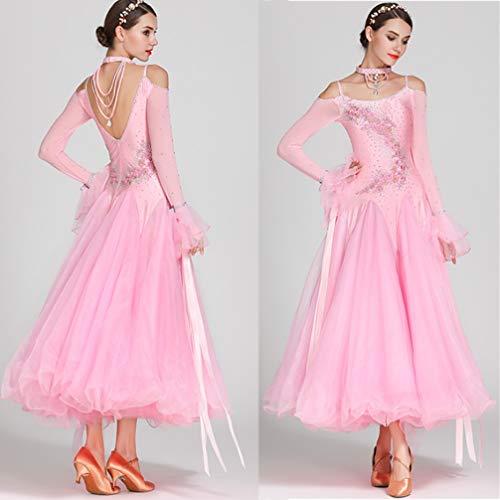 Abiti Pink Prestazione Tuta Teatrali Wqwlf Waltz Standard S Concorso Modern Costumi Senza Spalline Donne Da Ballroom xl Ballo aY650q