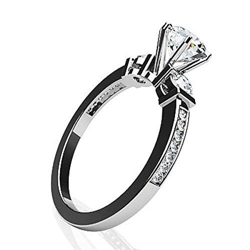 Or blanc 14K Triple canal de diamant Bague de fiançailles
