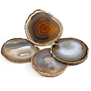 """The Royal Gift Shop: Gift Set of Four Brazilian 3.5""""-4"""" Natural Agate Drink Coasters... Plus a Complimentary Coaster GIFT FOR YOU!"""