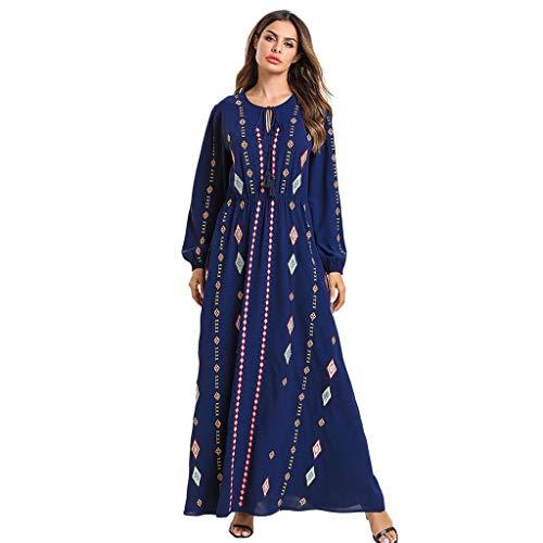 (Qingell Dress Womens Muslim Islamic Abaya Dress Long Sleeve Semi Formal Fall Summer Flowy Gown Maxi Dresses)