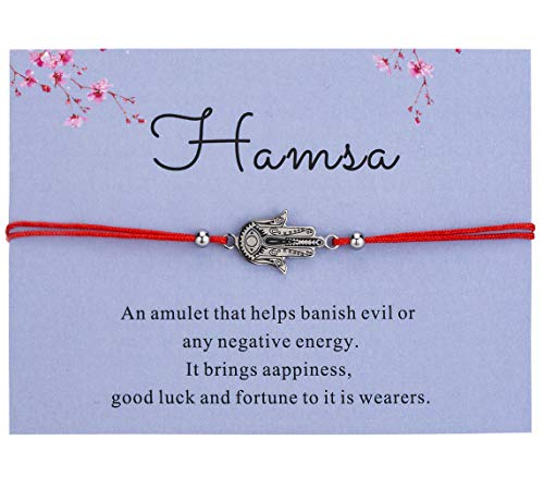 (Bowisheet Hamsa Hand Bracelet Evil Eye Protection Red Cord Adjustable Handmade Bracelet for Women)