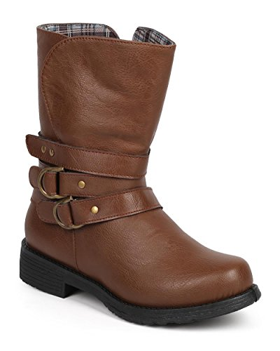 Brown Zip Boot Leatherette DF76 Refresh Motorcycle Belted Toe Round Women S8wHZz