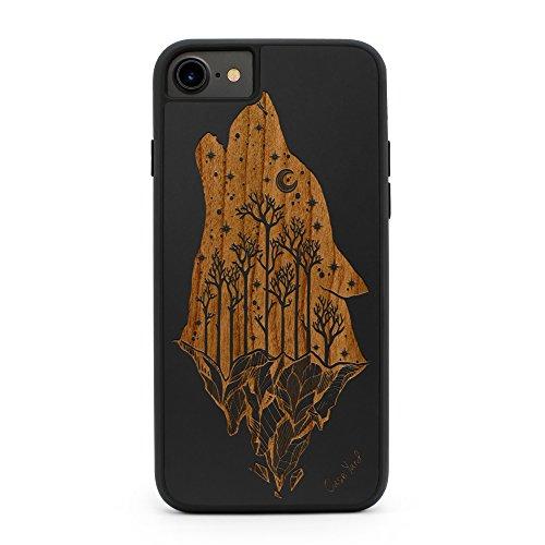 iPhone 8 Plus /7 Plus Case CaseYard Hybrid Wood Case for Apple iPhone 8 Plus & iPhone 7 Plus Made in California(Reg-Protective Black) Howling Wolf