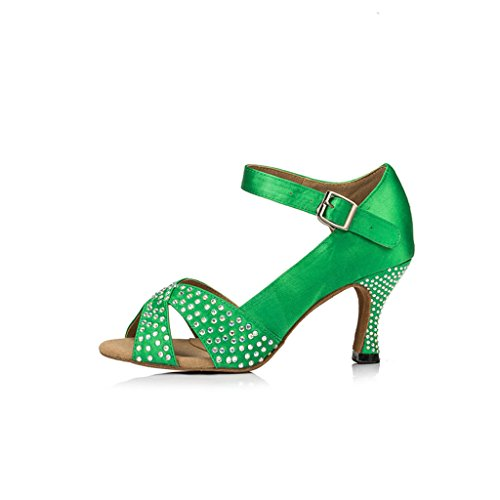 Professional Flared Monie Green Modern heel Shoes Women's Salsa 3