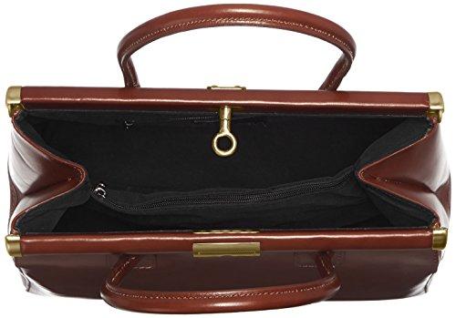 CTM Bolsa Mujer, Satchel elegante con asas y correa de hombro de cuero real, 35x28x16cm Marrón (Marrone)