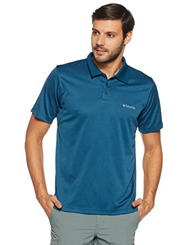 Columbia Men's New Utilizer Polo, Phoenix Blue Heather, Medium