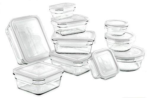 Glasslock Assorted Oven Safe Container Set - 20 Piece, Clear (Glasslock Food Storage Container Set 20 Piece)