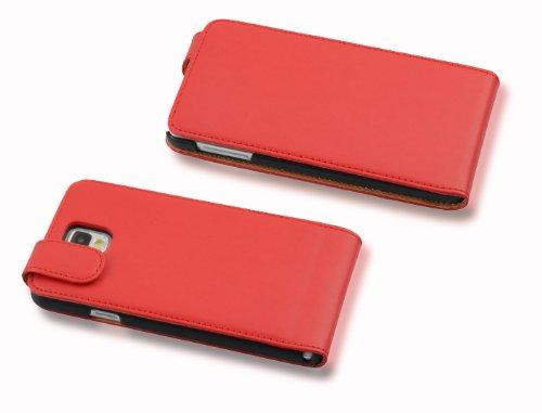 Cadorabo - Funda Flip Style para Samsung Galaxy NOTE 3 (N9005) de Cuero Sintético Liso - Etui Case Cover Carcasa Caja Protección en ROJO-DE-CHILE ROJO-DE-CHILE