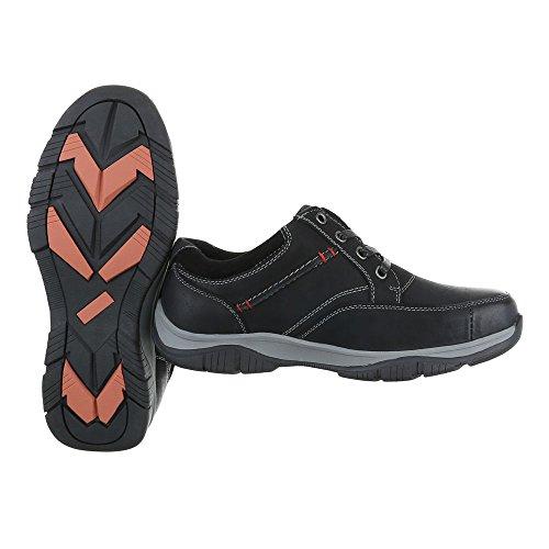 Ital-Design - Zapatos Planos con Cordones Hombre Schwarz 059121