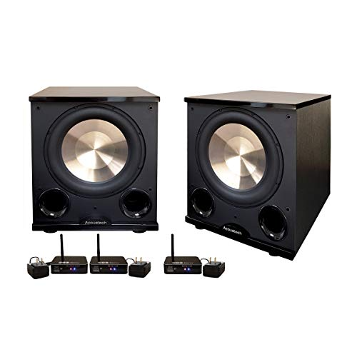 BIC/Acoustech Wireless PL-200 II Subwoofers – Two Wireless 1000W 12″ Subwoofers- Compatible with 2.1, 5.1, 7.1, 9.1 & .2 Audio Receivers!