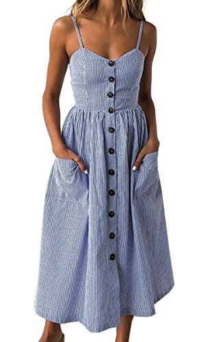 Angashion Women's Dresses-Summer Floral Bohemian Spaghetti Strap Button Down Swing Midi Dress with Pockets Navy Blue Striped S ()