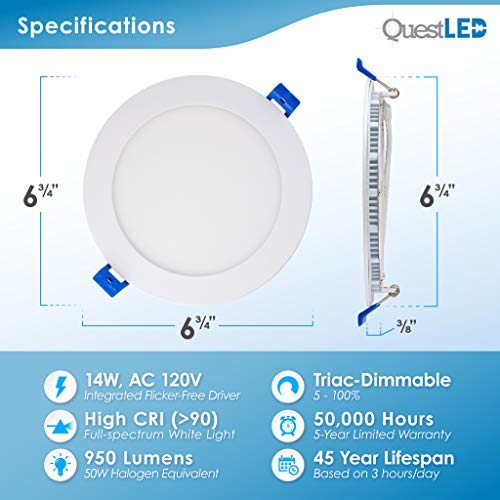 6'' Slim Recessed Panel Ceiling Downlight Ultra Thin Wafer with Junction Box; 14W=50W Equivalent; 3-in-1 CCT: 3000k/4000k/5000k, 950 lumens, 120V, Dimmable, IC Rated, ETL/ES/JA8 (6Pack) by Quest LED (Image #1)
