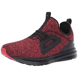 PUMA Men's Enzo Lean Sneaker, Black-high Risk red, 9 M US