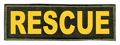 Rescue ID Patch - 6x2 - Gold Lettering - OD Green Twill Backing - Hook Panel ()