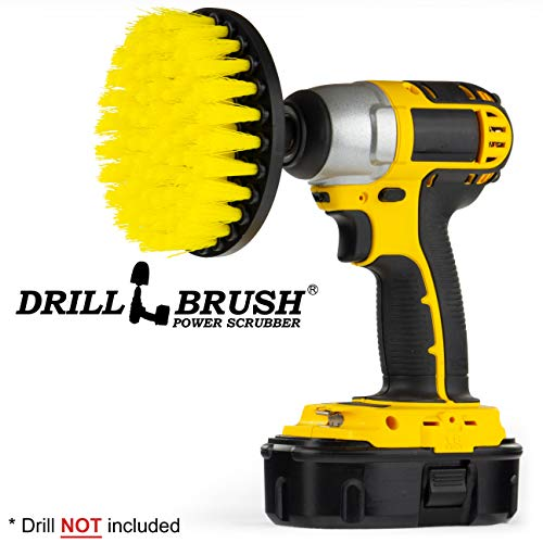 (5 Inch Diameter Drill Powered Scrub Brush with Quarter Inch Quick Change Shaft)