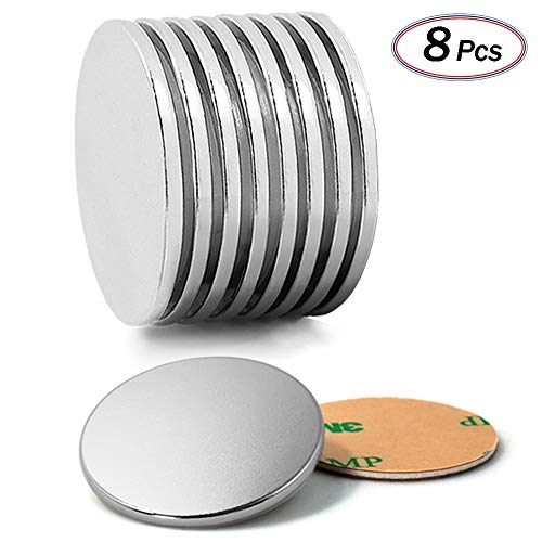 "Grade N52 Neodymium Magnets By JACK CHLOE, Super Strong Magnets With 8Pcs Adhesive Backing,1.26""D X 0.08""H Pack of 8, Powerful Rare Earth Magnets For Multi-Use by JACK CHLOE"