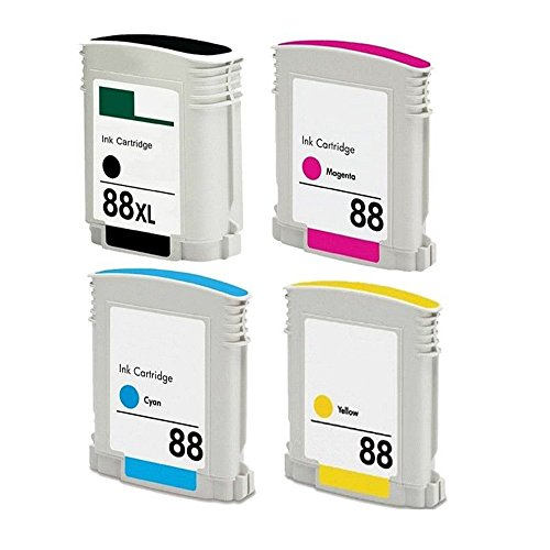 (RIGHTINK 4 PACK (BK C M Y) 88XL High Yield Ink Cartridge Replacement for HP88XL HP 88XL Use for Officejet Pro L7500 L7550 L7580 L7590 L7600 L765 Printers)