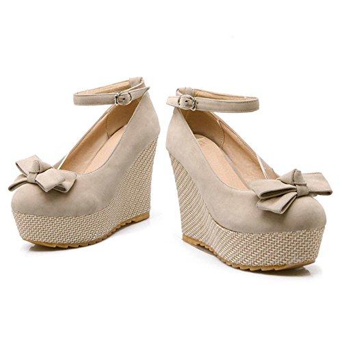 TAOFFEN Women's Wedges Heel Court Shoes Beige-6295 HcdYcLMgb