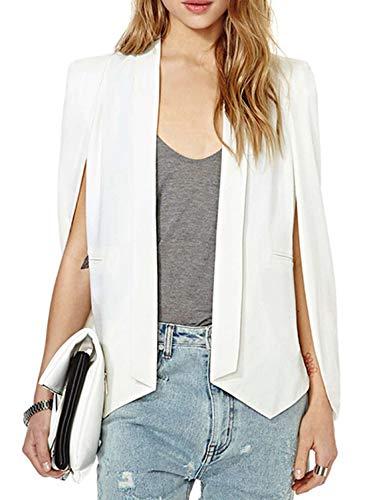(ASMAX HaoDuoYi Womens Cape Sim Fit Split Bussiness Blazer Jacket (XX-Large, White))