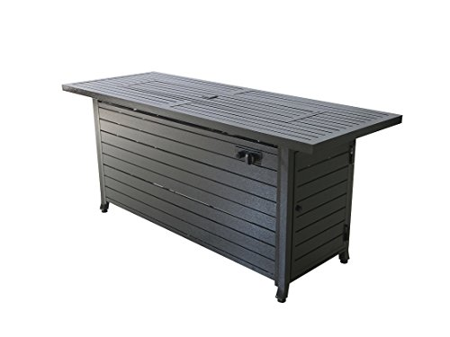 LEGACY HEATING Bronze Aluminumn Rectangular Gas Fire Pit Table with Stainless Steel Burner and Table Lid (Hammered Black) ()