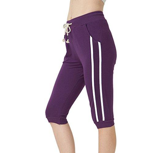 KDi Women's Shorts Jogger Sweatpants Running Trousers Tracksuit Capri Pants (M, (Purple Cord Pants)