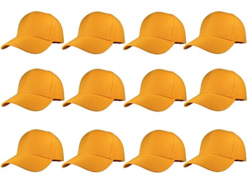 - Plain Blank Baseball Caps Adjustable Back Strap Wholesale LOT 12 Pack (Gold)