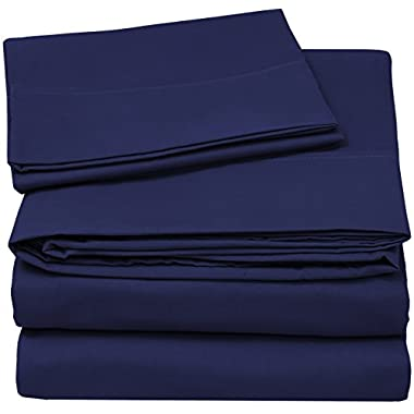 4 Piece Bed Sheet Set (Full, Navy Blue) 1 Flat Sheet + 1 Fitted Sheet + 2 Pillow Cases - Luxury Soft Brushed Microfiber Wrinkle Fade & Stain Resistant - By Utopia Bedding