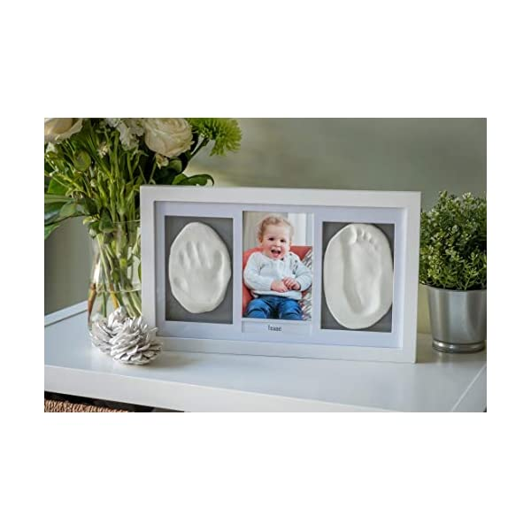 Baby Handprint and Footprint Kit for Newborn Girls and Boys | Adorable Baby Shower Gift for Registry | Elegant Baby Keepsake Photo Frame with Mold Free Non-Toxic Clay