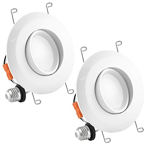 Luxrite 5/6 Inch Gimbal LED Recessed Light, 15W, 3000K Soft White, Dimmable LED Downlight, 1010 Lumens, Energy Star & ETL Listed, CRI 90, Damp Location - Adjustable Recessed Lighting (2 Pack)