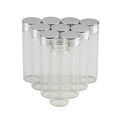 12units 30x100mm 50ML Empty Jars Glass Bottle with Aluminium Silver Color Screw Cap Sealed Liquid Food Gift Container (12, 50ML-Silver Lid)