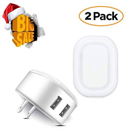Night Light USB Charger POWERIVER LED Sensation 2A Glow Smart Wall Charger Station Dual USB Power Adapter Travel or Home for Apple Mobile Phone iPad Android PSP ETC (Square) (Home Charger Psp)