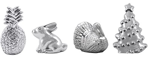 Mariposa Napkin Weights - Set of Four Pieces - Turkey, Rabbit, Pineapple, and Christmas Tree by Mariposa