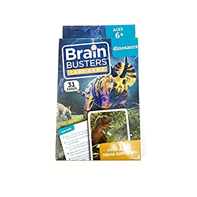 Brain Busters Card Game with Over 150 Trivia Questions Educational Flash Cards (Dinosaurs): Toys & Games