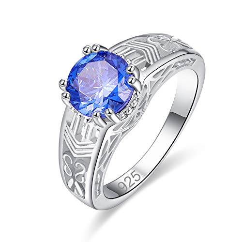 Cathedral Fit Comfort Solitaire - PAKULA 925 Sterling Silver Filled Lab-Created Tanizanite Solitaire Engagement Ring for Women