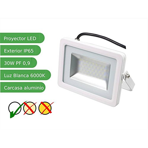 Jandei - Proyector foco led 30W Slim SMD5730 blanco 6000K exterior ...