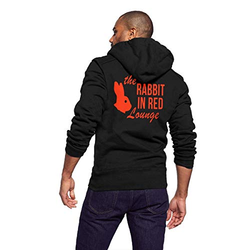 Sportswear Full Zip Up Club Fleece Hoodie Midweight Zip Front Hooded Sweatshirt Jacket for Men and Women - 70s Funny Halloween The Rabbit in Red Lounge