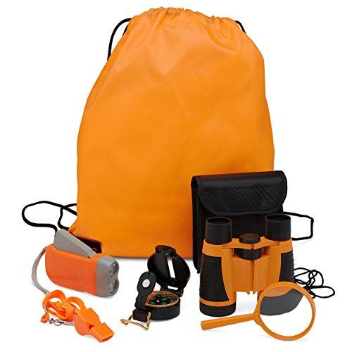 Exploration Kit for Kids – Outdoor Gear Gift Set for STEM Learning & Nature Exploring for Children – Compass, Binoculars,Magnifying Glass, Flashlight Backpack Pack for Toddler Boys & Girls