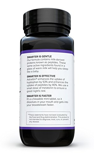 Smarter Sleep, Nighttime Sleep Aid with Bioactive Milk Peptides, 60 Chewable Mint Tablets (1 Month Supply) (1) by Smarter Nutrition (Image #3)