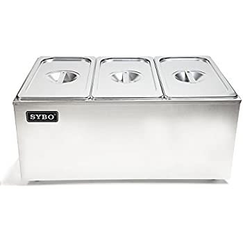 SYBO ZCK165A-3 Commercial Grade Stainless Steel Bain Marie Buffet Food Warmer Steam Table for Catering and Restaurants, (3 Sections)