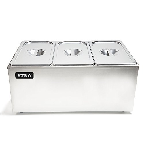 - SYBO ZCK165A-3 Commercial Grade Stainless Steel Bain Marie Buffet Food Warmer Steam Table for Catering and Restaurants, ((3 Sections)