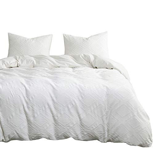 Wake In Cloud - Off White Duvet Cover Set, 100% Cotton Bedding, Tassel Chiffon Jacquard Diamond Geometric, Zipper Closure (3pcs, Queen Size)