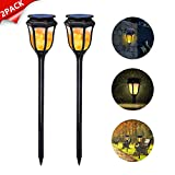 Dr. Prepare Solar Lights Outdoor Decorative Waterproof Landscape Flickering Flames Torches Lights 96 LED Motion Sensor Spotlights Wall Lamp for Garden Patio Pathway Walkway Decoration – 2 Pack