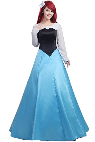 [Women's Cosplay Costume Blue Dress Custom Made Adult or Children (M, Bule)] (Ariel Dress For Adults)