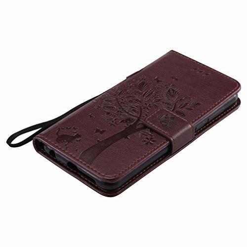 Yiizy Huawei Honor 8 Custodia Cover, Alberi Disegno Design Sottile Flip Portafoglio PU Pelle Cuoio Copertura Shell Case Slot Schede Cavalletto Stile Libro Bumper Protettivo Borsa (Marrone)