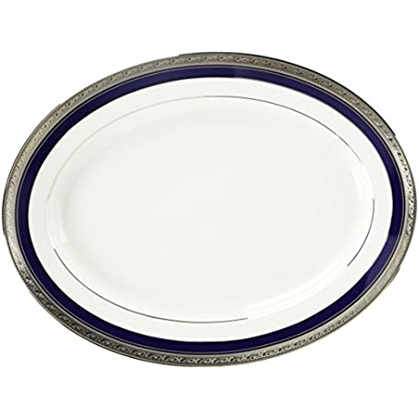 Noritake Crestwood Cobalt Platinum Oval Platter 14 Inches