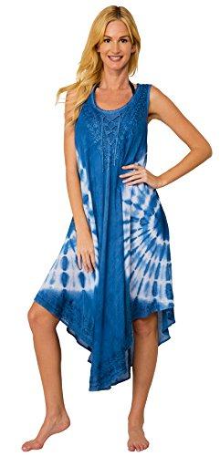 INGEAR Women's Casual Sun Dress Dresses Summer Beach Slip Sundress and Bathing Suit Cover Up (Tie Dye Denim) ()