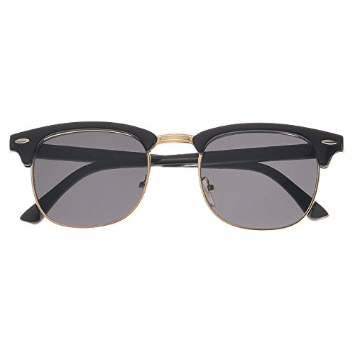 Classic Iconic Retro Classic Style Half Frame Horn Rimmed Sunglasses (0Black/Gold, - Glasses Frames Anime
