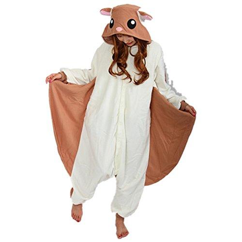 JOYHY Adult's Animal Cosplay Costume Pajama Onesie Kigurumi Flying Squirrel (Plus Size Squirrel Costume)
