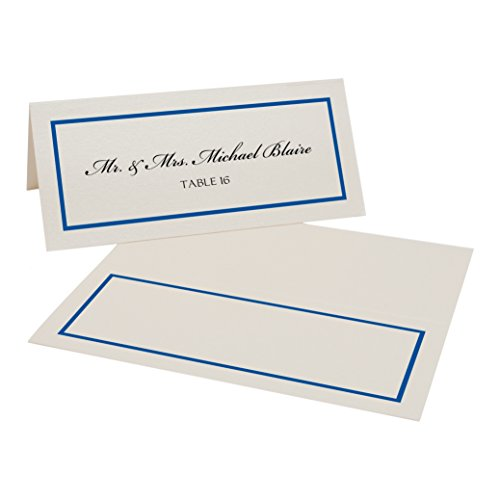 Single Line Border Place Cards, Champagne, Royal Blue, Set of (Royal Champagne Set)